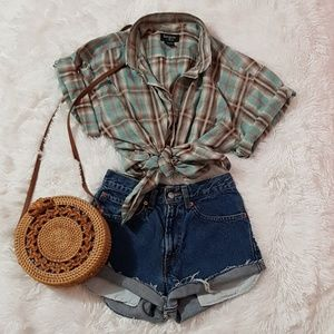 🤠 Plaid Green Button Up Vintage Unisex Shirt ‼